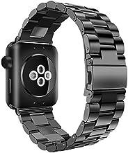 iiteeology 兼容苹果手表腕带,不锈钢 iWatch 表带链接手链带适用于苹果手表系列 4 系列 3 系列 2 系列 1AWSIBSB42 42mm/44mm 黑色