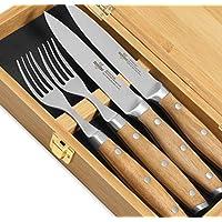 Steakchamp - 4 Musketeers 优质牛排刀带微锯齿边缘 - 德国碳不锈钢刀 - 2 把牛排刀和 2 把叉套装,优雅礼盒