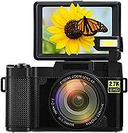 數碼相機攝像機視頻攝像機視頻攝像機Vlogging相機全高清2.7K 24MP 3.0英寸 180度旋轉翻轉屏幕相機適用于YouTube,帶可伸縮閃光燈