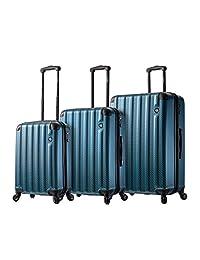 Mia Toro 意大利 Catena 大号硬侧行李箱 3 件套,蓝色