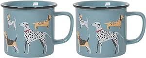 Now Designs 传统陶瓷杯,两件套 狗狗日 L100001aa