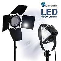 LimoStudio 优质谷仓门灯 LED 亮灯 4500 升 / 5700 K / 50 瓦,带电源线,开/关开关,保险丝插座和三脚架灯架,摄影工作室,AGG1838