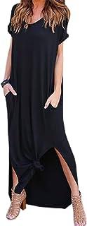 Primoda 女式休闲性感侧开叉 V 领宽松口袋 T 恤长裙短袖超长连衣裙 黑色 Small