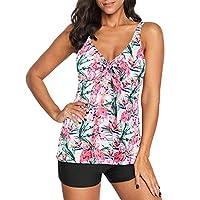 zando 女式运动复古印花分体泳衣两件套沙滩装时尚波西米亚泳装背心上衣泳衣适用于青少年