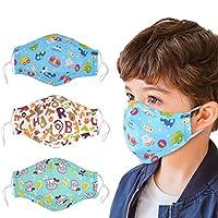 儿童防尘面具,Aniwon 3 件 PM2.5 儿童口罩,6 件活性炭过滤器插入,可水洗棉质口罩,带可调节肩带 250.00