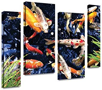 "ArtWall 4 Piece ""George Zucconi's Koi"" Gallery Wrapped Canvas Artwork, 36"" x 54"""