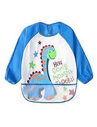 幼儿防水袖围兜男女通用婴儿 - 多色卡通动物图案(6-36 个月大) 蓝色 均码