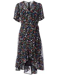 Calvin Klein 女士飘逸袖 A 字型连衣裙,斜襟领口