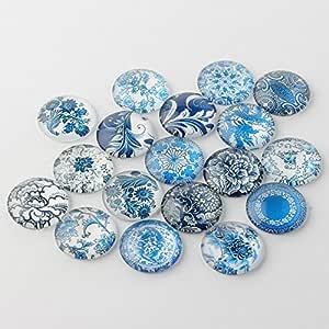 PEPPERLONELY 印花圆顶玻璃凸面半圆平背用于凸面包边设置 BC1. Floral, Round, 30mm