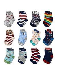 婴儿防滑袜子防滑软棉短袜带 GRIP 适用于儿童幼儿男孩  12 Pairs 12-36 Months