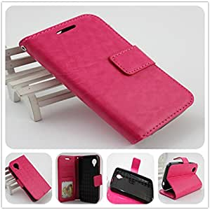 BLU Dash Music II D330 完美贴合奢华皮革钱包式手机壳带带身份证展示窗口 桃红色
