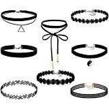 Buytra 8-10 Pieces Choker Necklace Set Stretch Velvet Classic Gothic Tattoo Lace Choker Necklaces with Pendant, Black