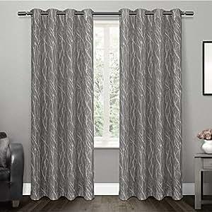 "Exclusive Home EH8071-02 2-84G Oakdale Textured Linen Motif Grommet Top Window Curtain Panel Pair, black Pearl, 54"" X 84"""