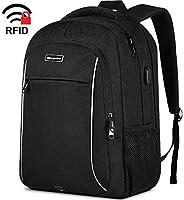 旅行笔记本电脑背包,带 RFID 口袋的书包,夜灯反光设计和 USB 充电端口,防水大学书包电脑背包 男女皆宜