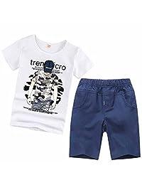 夷榀 儿童夏装男童套装2018童装新款男孩短袖衣服中大童宝宝夏季两件套