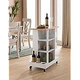 Kings Brand Furniture Kitchen Island Serving 展示车,带*和玻璃架,白色/自然色