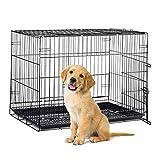 Relaxdays 折叠金属狗箱旅行背带,室内宠物狗绳,托盘,S 到 XL,黑色