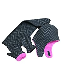N'Ice Caps 大女孩 7-10 岁印花软羊绒内衬帽/围巾/手套 3 件套