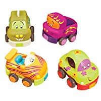 B.Toys 比乐 宝宝回力车 惯性硅胶 耐摔耐啃咬 早教小汽车 卡通车4个装玩具 1岁+ BX1048Z