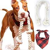 Odi 风格狗狗手帕和狗绳玩具 - Bufallo 格纹狗头巾,适合小型、中型大型犬和狗狗玩具,适合积极的犬 2.5 英尺 4 结