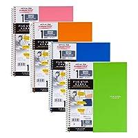五星螺旋笔记本,1 个主题,方格横格纸,100 张,27.94 厘米 x 21.59 厘米,颜色随机,4 包 (06190) - 套装包括通用开信器. 4 Pack Bundle 13 种颜色供您选择