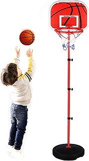 篮球框儿童支架套装,可调节高度便携式支架篮球套装运动游戏玩具套装带球、网和球泵室内和室外趣味玩具适合幼儿 2 3 4 5 岁