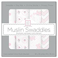SwaddleDesigns Muslin Swaddle Blanket, Butterfly Fun, 4 Count