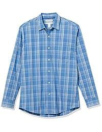 Amazon Essentials 男式標準長袖常規版型休閑府綢襯衫