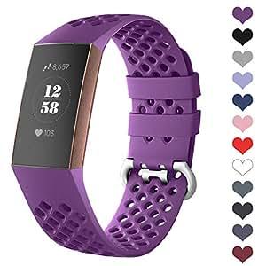 DEKER 运动表带适用于 Fitbit Charge 3 表带和 Charge 3 SE 健身追踪器女士男士,透气孔硅胶智能手表表带小号大配件腕带 小号 01-Berry