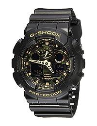 Casio 卡西欧 男士 GA-100CF-1A9CR G-Shock Camouflage 手表 黑色树脂表带