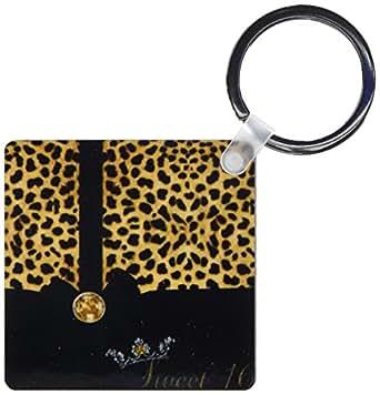 3dRose 甜美 16 豹纹印花和金色 - 钥匙链,5.72 x 11.43 厘米,2 件套 (kc_52259_1)