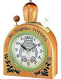 リズム時計 となりのトトロ 目覚まし キャラクター 時計 R455N かわいい 木製ベル 木 茶 4RA455MN06