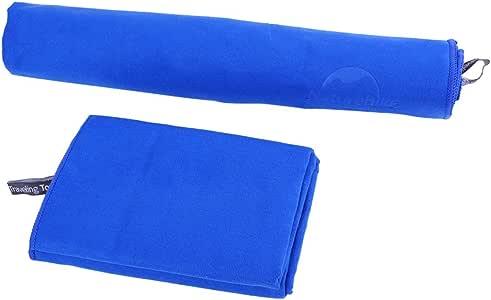 XUKE 运动超细纤维多功能旅行毛巾吸水快干浴巾 手/面巾 带网状包,适合游泳、旅游、运动、露营、海滩、浴室 Hand/Face Towel 蓝色 JUA04844