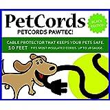 PetCords 黑色狗和猫咪绳保护罩 - 通过绝缘电缆保护您的宠物免受咀嚼,达 10 英尺,无味,无味
