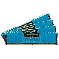 海盗船 (Corsair) Vengeance LPX 16GB (4 x 4GB) DDR4 DRAM 2133MHz C13 内存条套装,适用于 DDR4 系统 (CMK16GX4M4A2133C13) 蓝色 16 Gb