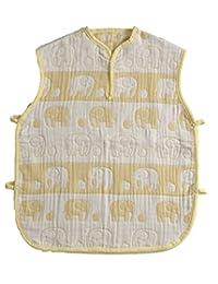 【日本制】渡嘉毛织 5层纱布的蓬松北欧睡衣(大象图案) 黄色 フリー