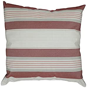 Mansion Multi-Striped Outdoor Pillow Burgundy/Gray/and White Multi 18 x 18 英寸