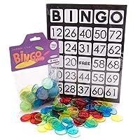 Jumbo Bingo Bundle - 25 张大型印刷宾果卡片,100 个 1.25 英寸宾果筹码 - 教育 STEM 资源- 半透明彩色计数标记,适合小学课堂和幼儿数学游戏