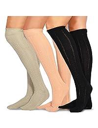 Teehee 女式时尚棉质过膝袜 - 3 双装