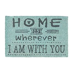 """Relaxdays Coir Doormat""""Home is Wherever I'm with You"""" Welcome Mat with Anti-Slip PVC Underside, Floor Mat made of Coconut Fibre, Various Colours Available"""
