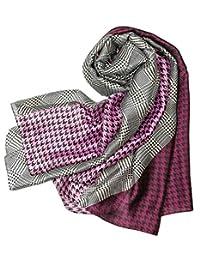 Shanlin 丝绸长缎纹图案和纯色女式围巾