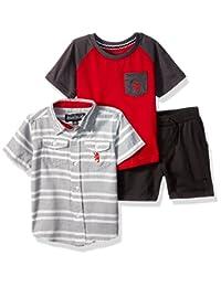 English Laundry 男婴条纹运动衬衫,T恤和套头短裤
