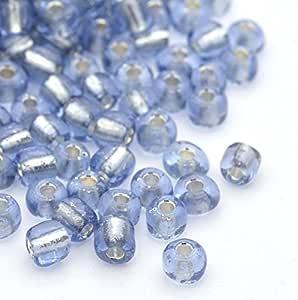 PEPPERLONELY 50 克 12/0 银色内衬玻璃珠 2mm JK21. Light Blue