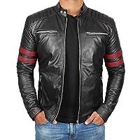 正品黑色皮夾克男式 - Cafe Racer 摩托車皮夾克男式