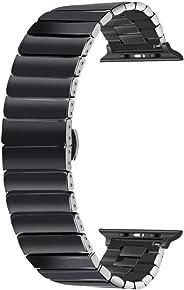 YOUKEX 陶瓷 38mm 40mm 42mm 44mm 手表表带 适用于 Apple Watch 系列 5 4 3 2 1 42/44mm 黑色