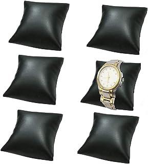 6 件套 黑色 PU 皮革小手链手表枕头手镯靠垫 适用于珠宝展示架 3.15 x 3.54 英寸(约 8.9 x 8.9 厘米)
