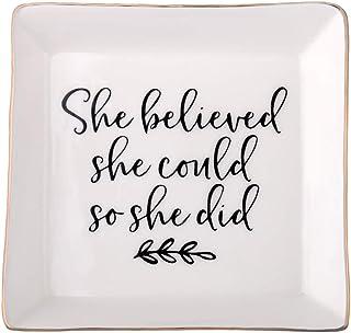 POTIY 励志礼品毕业礼物朋友礼品珠宝小饰品托盘盘子珠宝盘托盘女士珠宝她相信她可以这么动她生日,(托盘-1)