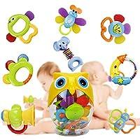 牙胶摇铃套装婴儿玩具 - Happytime SLE84822(2018 新设计)8 件*新摇铃和磨牙玩具,带可爱的猫头鹰奶瓶礼品