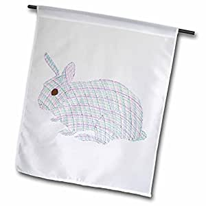 cherylsart 假日复活节–格子兔子兔子绘图–旗帜 12 x 18 inch Garden Flag