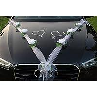 ORGANZA M + HERZEN Auto-Schmuck 新婚夫妇玫瑰装饰 汽车装饰 婚车 婚车装饰 轿车藤条花环 Reinweiß / Weiß / Weiß
